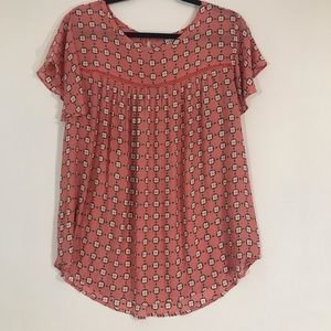 Ava and Viv Plus Pink Floral Top Short Sleeved